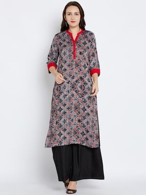 Shree Women Gray Rayon Floral Printed Kurta