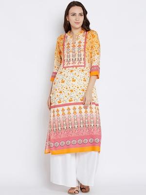 Shree Women Orange Rayon Floral Printed Kurta
