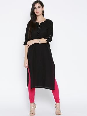 Shree Women Black Cotton Solid Kurta