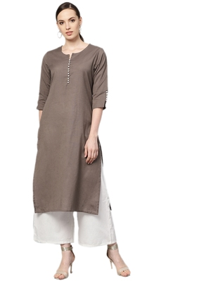 Shree Women Brown Cotton Solid Kurta