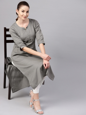 Shree Women Dark Grey Cotton Solid Kurta