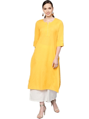Shree Women Yellow Cotton Solid Kurta
