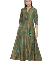 Shree Women Green Art Silk Printed Dress