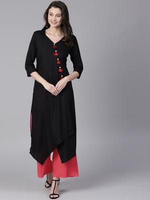Shree Women Black Rayon Solid Kurta