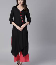 Shree Women Black Rayon Solid Kurta