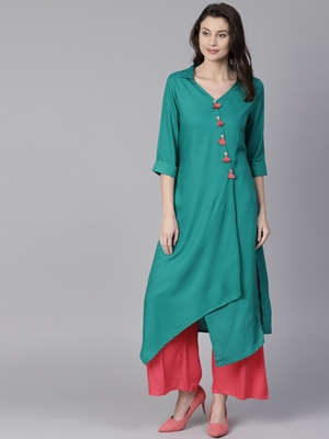 Shree Women Teal Rayon Solid Kurta