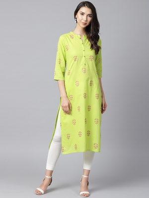 Shree Women Bright Green Cotton Printed Kurta