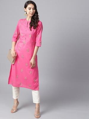 Shree Women Pink Cotton Printed Kurta