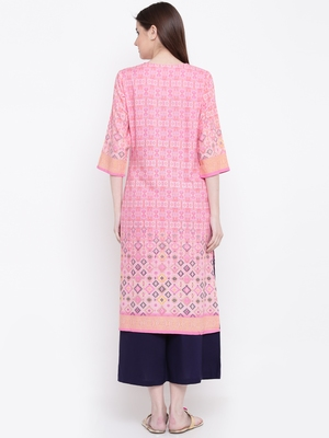 Shree Women Pink Rayon Printed Kurta