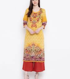 Shree Women Yellow Rayon Printed Kurta