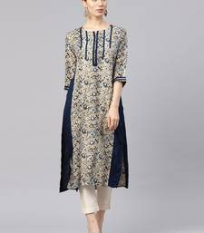 Shree Women Beige & Blue Rayon Printed Kurta