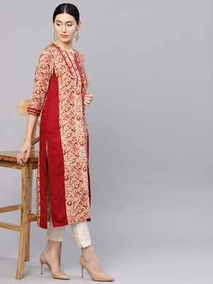 Shree Women Beige & Maroon Rayon Printed Kurta