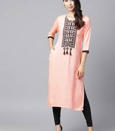 Shree Women Peach Rayon Embroidered Kurta