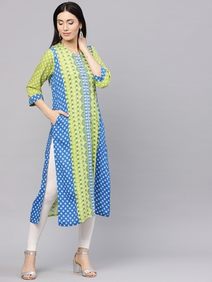 Shree Women Green & Blue Rayon Printed Kurta