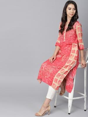 Shree Women Beige & Pink Rayon Printed Kurta