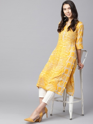 Shree Women Beige & Yellow Rayon Printed Kurta