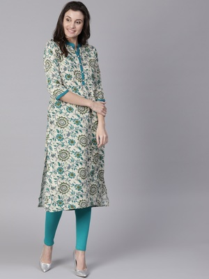 Shree Women Beige & Teal Rayon Printed Kurta