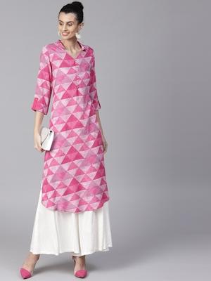 Shree Women Pink Rayon Printed Kurta