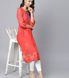Shree Women Red Rayon Printed Kurta
