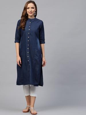 Shree Women Blue Cotton Solid Kurta