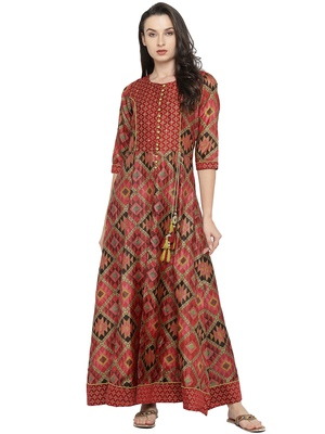 Shree Women Red Kanjivaram Silk Printed Kurta