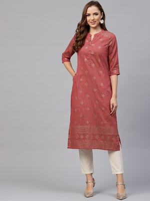 Shree Women Red Poly Viscose Printed Kurta