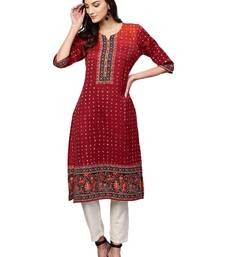 Shree Women Maroon Art Silk Bandhani Kurta
