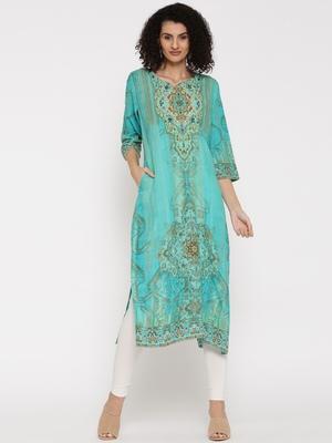 Shree Women Turquoise  Rayon Embellished Kurta