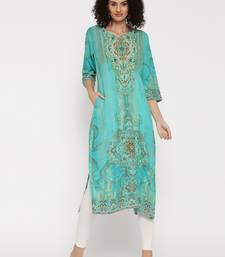 Shree Women Turquoise  Rayon Embellished Kurta