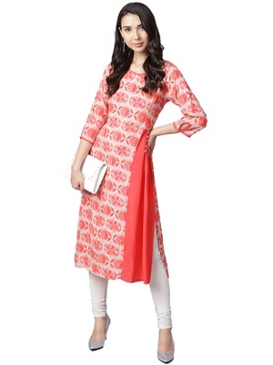 Shree Women Coral Red & Beige Rayon Floral Kurta