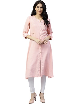 Shree Women Baby Pink Rayon Printed Kurta