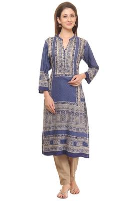 Shree Women Blue&Beige Rayon Embellished Kurta