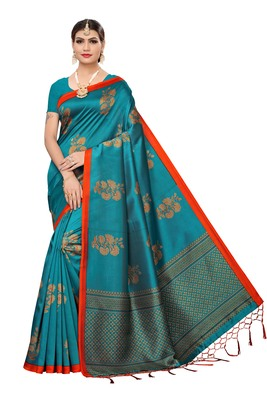 Teal printed art silk saree with blouse