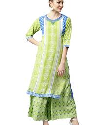 Shree Women Off-White & Green Rayon Printed Kurta Set