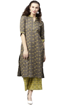 Shree Women Brown & Corn Yellow Cotton Printed Kurta Set
