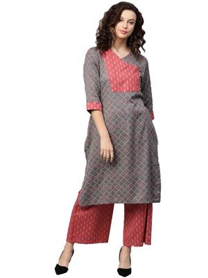 Shree Women Grey & Maroon Cotton Printed Kurta Set