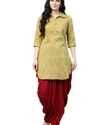 Shree Women Mehendi Green & Maroon Dupion  Solid Kurta Set