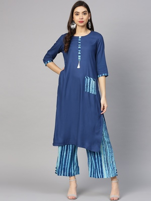 Shree Women Blue Rayon  Solid Kurta Set