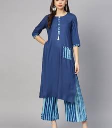 Shree Women Blue Rayon  Solid Kurta Set