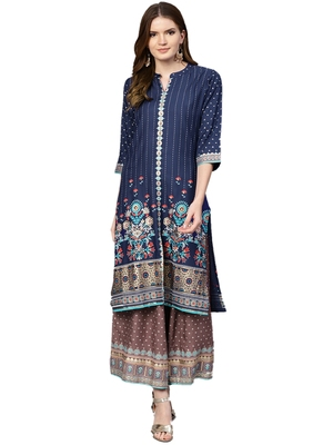 Shree Women Blue & Mauve Rayon Printed Kurta Set