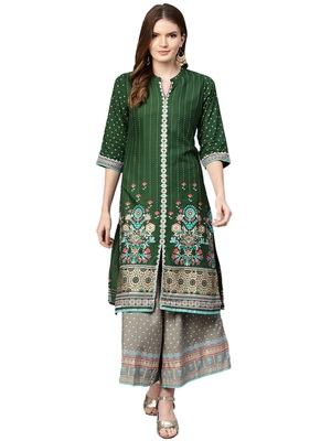 Shree Women Green & Olive Rayon Printed Kurta Set