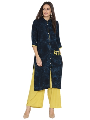 Shree Women Navy & Lime Liva printed Kurta With Palazzo