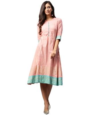 Shree Women Pink Poly Viscose Printed Dress