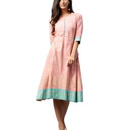 Shree Women Pink Poly Viscose Printed Dress