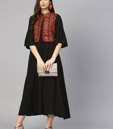 Shree Women Rust & Black Rayon Solid Dress