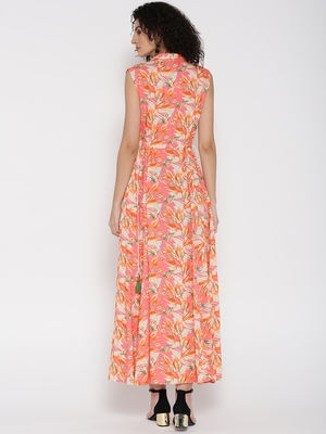 Shree Women Peach Rayon Printed Dress