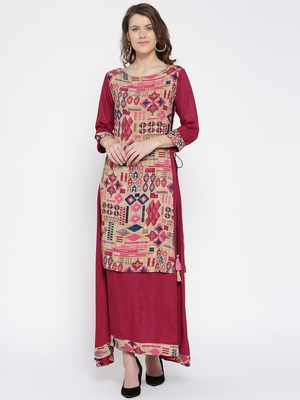 Shree Women Beige & Pink Rayon Printed Dress