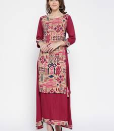 Shree Women Beige & Pink Rayon Printed Dress