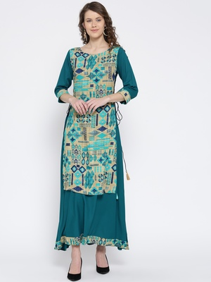 Shree Women Beige & Teal Rayon Printed Dress