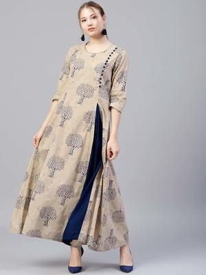 Shree Women Beige & Blue Cotton Printed Dress